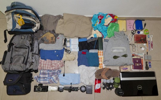 Bag with all essential gear for travel